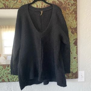 Black V Neck Free People mohair sweater